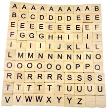 100pcs/set English Words Wooden Letters Alphabet Tiles Black Scrabble Letters Wood Crafts Early Educational Toys For Baby Gifts