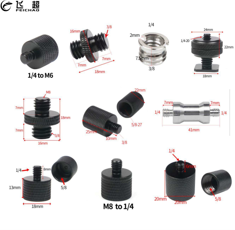 """1/4 """"3/8"""" 5/8 """"M8 M6 rosca macho a hembra tornillo convertidor adaptador Mic soporte trípode placa SLR accesorios de cámara"""