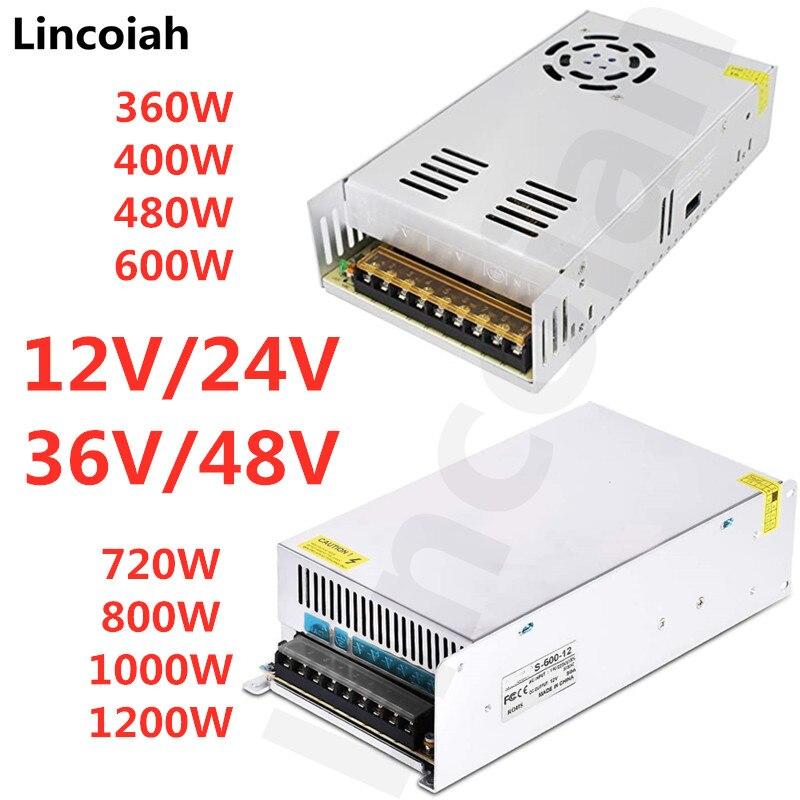Lincoiah-fuente de alimentación conmutada, transformador de iluminación de CA 110V 220V a cc 12V 24V 36V 48V, adaptador de fuente SMPS para tira Led CCTV