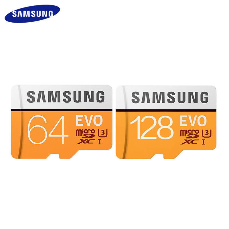 Cartão de memória do transfer do cartão u3 do sd da classe 10 de samsung 64gb 128gb sdxc máximo 100 mb/s evo 64gb 128gb cartão de memória do micro sd