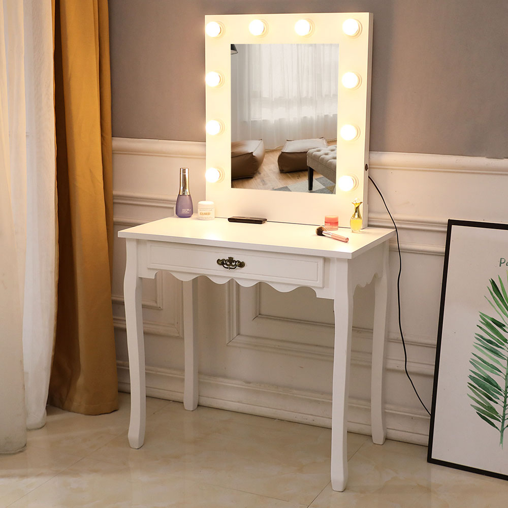 US $144.9 50% OFF|Vanity table Dressing Table 10 Light Bulbs Led Light Girl  bedroom makeup vanity furniture With Illuminated Mirror on AliExpress