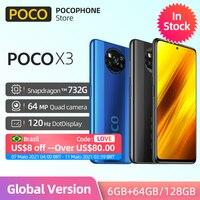 In Lager Globale POCO X3 NFC 64G 128G Snapdragon 732G 120Hz 5160mAh Batterie 33W schnelle Ladegerät 64MP Quad Kamera Xiaomi Smartphone