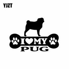 YJZT 14.9X10.2CM benim Pug kemik araba Sticker Pug köpek vinil çıkartması sanat dekoru siyah/gümüş C24-1525