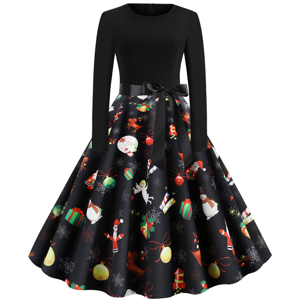 Black Print Christmas Dress Women Elegant Vintage Autumn Winter Long Sleeve Plus Size Casual Party Dresses Vestidos Robe Femme 4