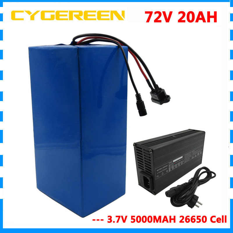 2500W 72V 20AH Scooter battery 72V 20AH Lithium battery 72 V Ebike Battery pack 3.7V 5000MAH 26650 Cell 40A BMS