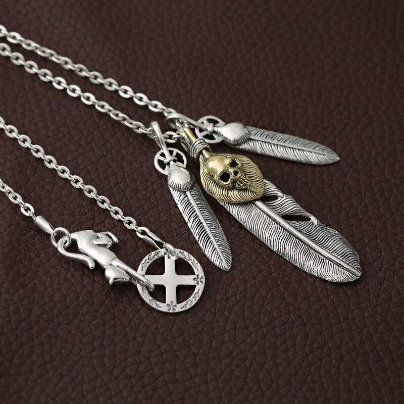 Hommes femmes argent collier 100% réel 925 argent Sterling crâne plume pendentif chaîne collier de noël cadeau de mode bijoux cadeau