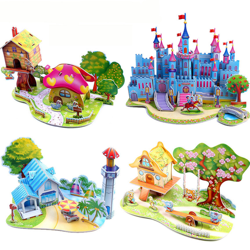 Large Three-Dimensional Puzzle Funny Castle Garden Children's Toys Puzzle DIY Paper 3D Puzzle  High Quality Boys And Girls Gifts