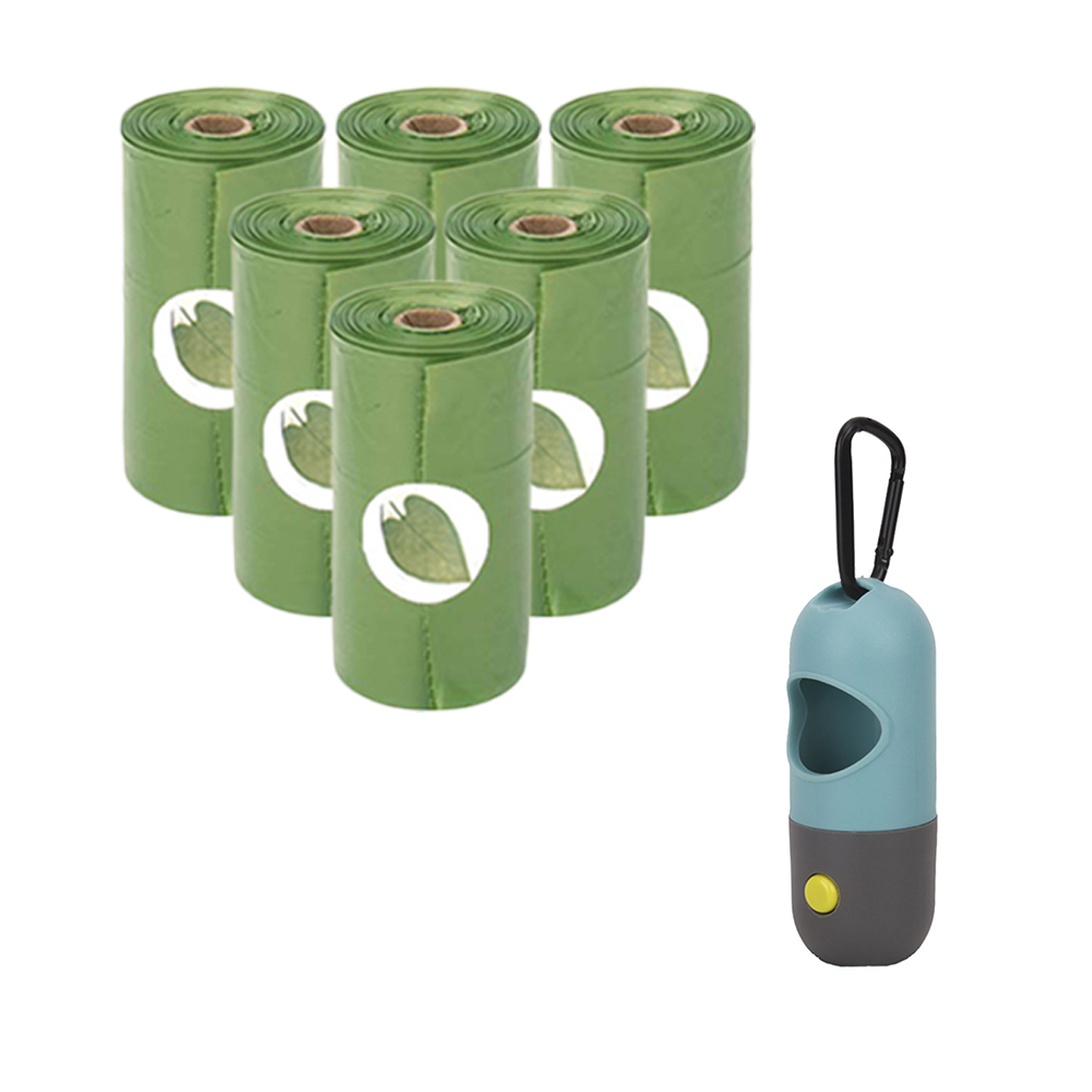 Dog LED light Waste Bag Dispenser Fits For Pet Leash Not Includes battery Pet 6pcs/ Roll Degradable Clean poop bags