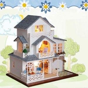 Casa de muñecas DIY, Villa de madera en miniatura, juguete con muebles, Kit de montar, casa de muñecas 3D, modelo para niños, regalos de cumpleaños para adultos