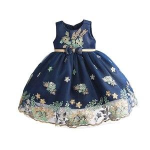 Платье с вышивкой для новорожденных девочек, платье принцессы на первый день рождения для детей 6, 12, 24, 36 месяцев