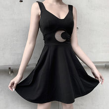 New Design Summer Dress 2020 Women Pleated Black Dress Punk Style Strap Zipper Dress Push Up Slim Dress Sexy Women Vestidos(China)