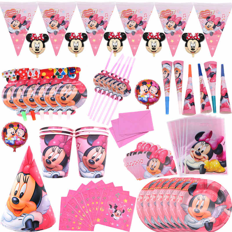 Minnie mouse theme cup and saucer hat straw balloon gift bag series party decorations baby shower birthday party supplies