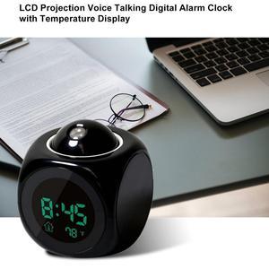 Image 5 - 2019 ใหม่ LCD PROJECTION เสียงพูดคุยนาฬิกาปลุกอิเล็กทรอนิกส์โปรเจคเตอร์ดิจิตอลนาฬิกาโต๊ะจอแสดงผลอุณหภูมิ