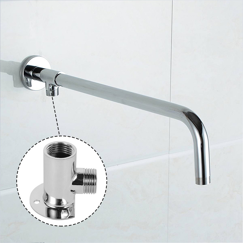 50cm Stainless Steel Shower Extension Pipe Wall Mounted Shower Arm Tube Spray Nozzle Pipes Faucet Replacement Parts