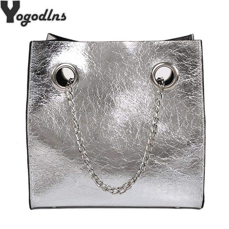 Big Tote Female Bag Burst Crack Chain Shoulder Messenger Bag PU Leather Rivet Large Capacity Mobile Ladies Bags For Women 2019