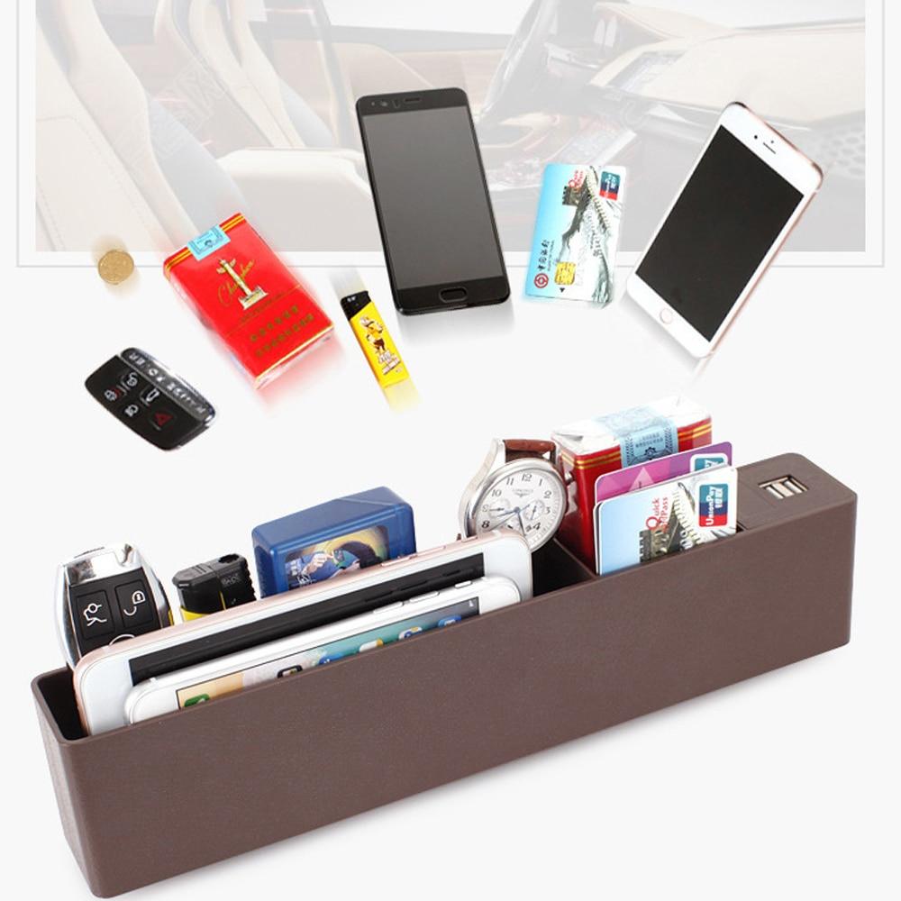 Universel Rechargeable multi-fonction voiture organisateur siège Gap PU Case poche siège de voiture fente latérale pour portefeuille téléphone pièces clés cartes