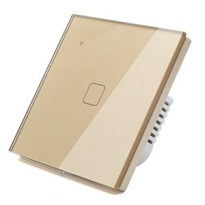 Image 3 - (לא צריך ניטראלי) WIFI מגע אור קיר מתג זהב זכוכית כחול LED חכם בית טלפון בקרת 1 כנופיית 2 דרך Alexa Google בית
