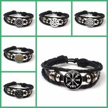 Fashion Retro Viking Compass Leather Bracelet Charm Men Women Nordic Rune Odin Printed Glass Gift Souvenir Kid