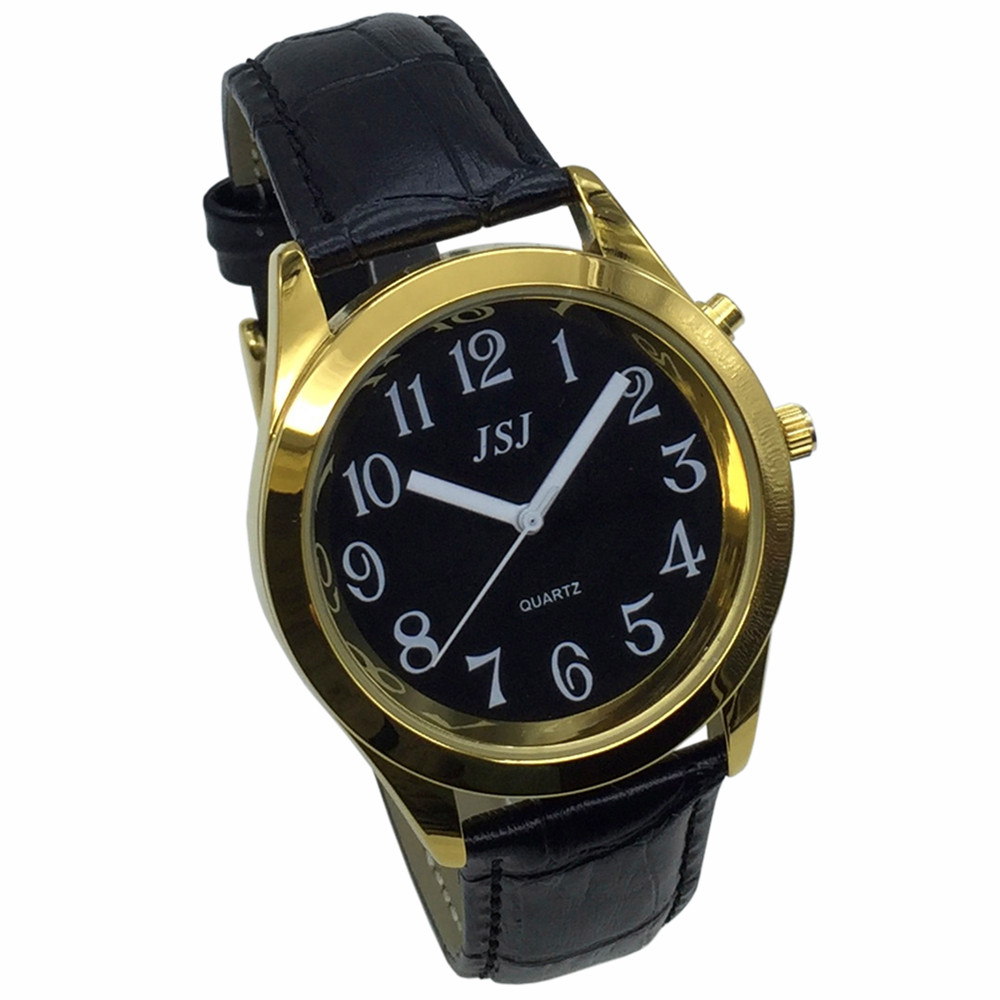 French Talking Watch With Alarm Function, Talking Date And Time, Black Dial, Black Leather Band, Golden Case TAF-807