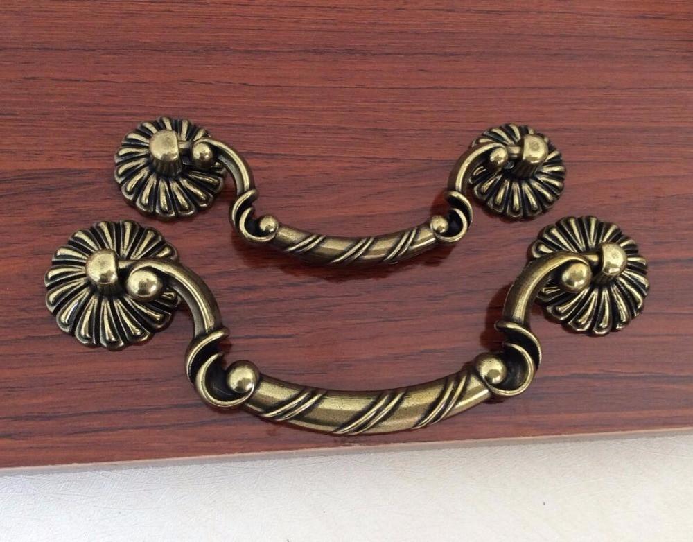 Bronze Drop Pull Drawer Pulls Handle Vintage Dresser / Kitchen Cabinet Knob Decoration Hardware