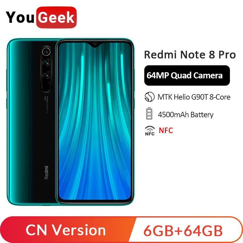 En Stock! Xiaomi Redmi Note 8 Pro 6GB 64GB 64MP quatre caméras arrière Smartphone MTK Helio G90T Octa Core 4500mAh refroidissement liquide