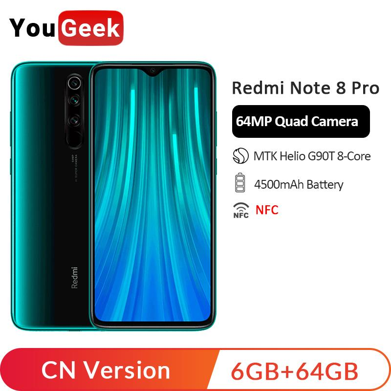 In Stock! Xiaomi Redmi Note 8 Pro 6GB 64GB 64MP Quad Rear Cameras Smartphone MTK Helio G90T Octa Core 4500mAh Liquid Cooling