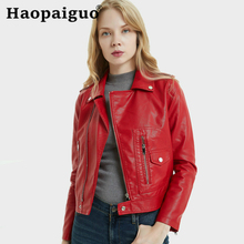 Hot 2019 Modis  Autumn New Women Short Leather Jacket Slim Plus Size Bow Belt Motorcycle Red PU Long Coat