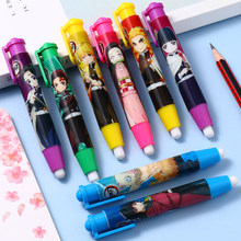 Anime demon slayer kimetsu não yaiba bonito padrão caneta tipo apagadores retráteis crianças estudante lápis borracha hashibira inosuke