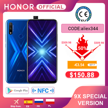 80€-8€ Code:EUROPE8  Version spéciale Honor 9X Smartphone 4G128G 48MP double came 6.59 ''téléphone portable Android 9 4000mAh OTA Google Play 1