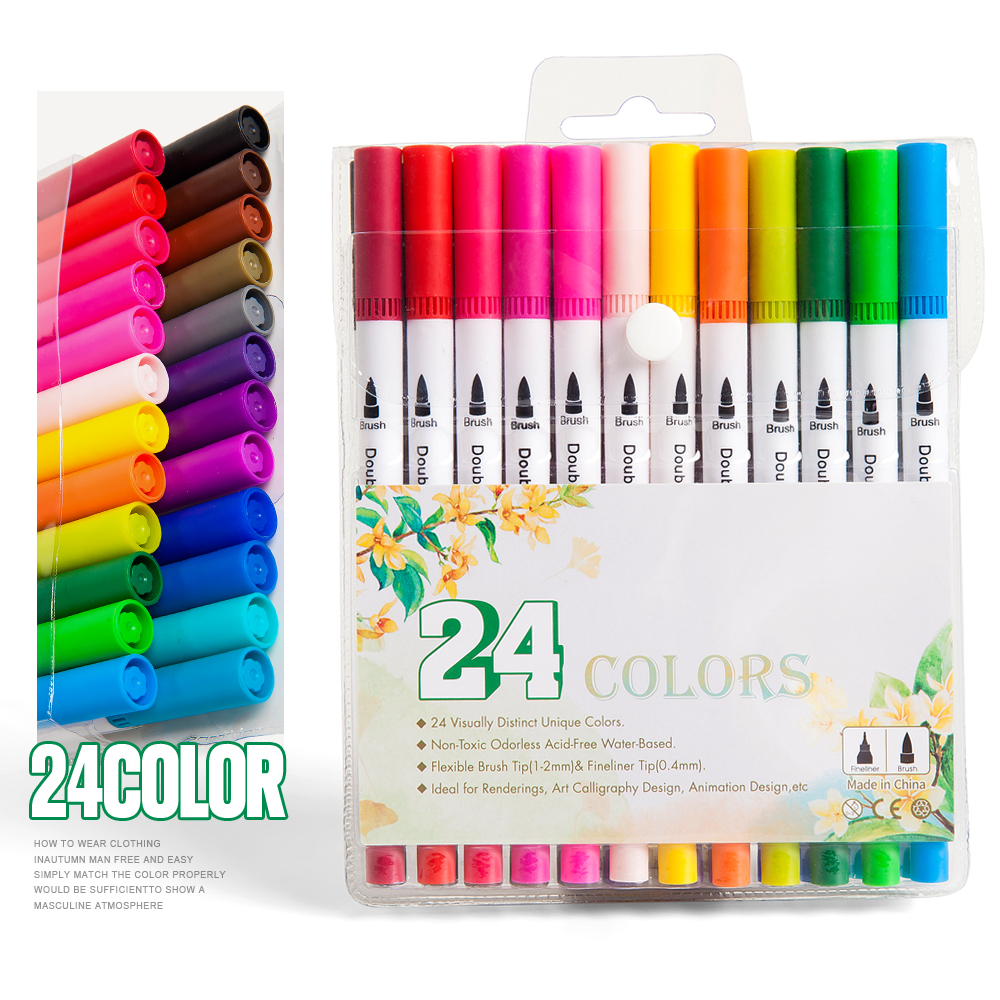 12/24/36/48 Color Marker Pen Set Dual Side Writing Fine Liner Bold Brush Painting Calligraphy Drawing Design Manga School Art