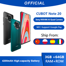 Cubot Note 20 Rear Quad Camera Smartphone NFC 6.5 Inch 4200mAh Google Android 10 Dual SIM Card Telephone 4G LTE 3GB+64GB celular