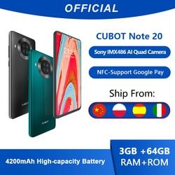 Cubot Note 20 Vierfach-Kamera android smartphone ohne vertrag NFC 3GB + 64GB 6,5 Zoll 4200mAh Google smartphone android 10 dual sim smartphone unter 100 euro Karte handy 4G LTE celular smartphone 64gb cubot smartphone