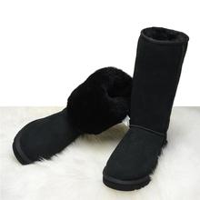 Australijskie damskie buty śniegowe wodoodporne oryginalne krowy skórzane buty zimowe ciepłe buty damskie do kolan buty damskie buty tanie tanio LOOVYML CN (pochodzenie) Prawdziwej skóry Skóra bydlęca Podkolanówki Szycia Stałe Dla dorosłych Mieszkanie z Buty śniegu