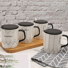 Fashion Nordic Style Coffee Mug Ceramic of Bone China Milk Tea Breakfast Cup Office Cup with Lid and Spoon for Creative Gifts peacock shape water cup large capacity mug with lid spoon creative personality tea cup ceramic coffee cup latte milk mug
