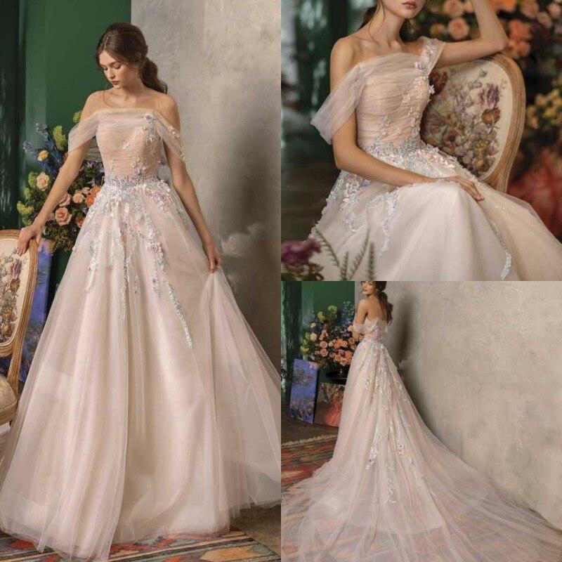 2020 Wedding Dresses Off Shoulder Lace Appliques Bridal Gowns Gorgeous Backless Sweep Train A Line Wedding Dress