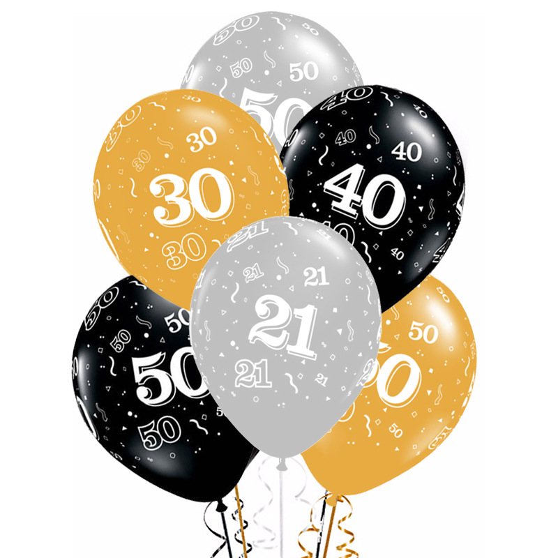 5pcs 12inch Happy <font><b>Birthday</b></font> Latex Balloon Gold Silver Black <font><b>18</b></font> 21 30 40 50 Years Adult Helium Balloon Party <font><b>Decoration</b></font> Supplies image
