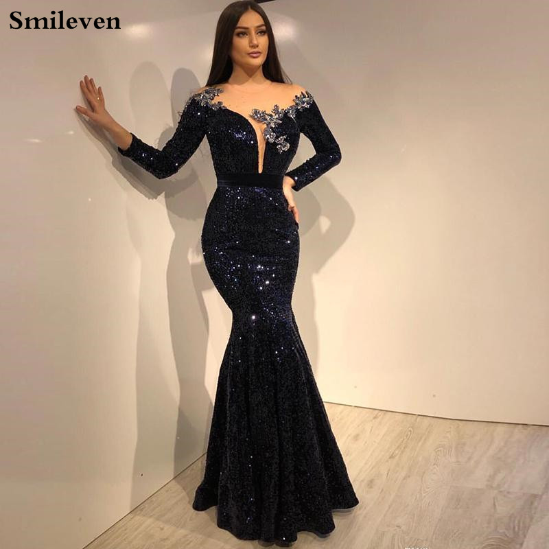 Smileven Mermaid Evening Dress Long Sleeve Black Sequin Formal Dress Party Gown Robe De Soiree Mermaid Prom Gowns