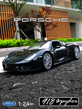 welly 1:24 Porsche 918  car alloy model simulation decoration collection gift toy Die casting boy