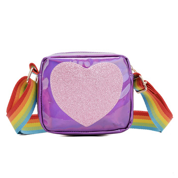Cute Children's mini Crossbody Bag PU Leather Rainbow Love Girls Princess Coin Purse Kids Shoulder Bag Small Square Bags image