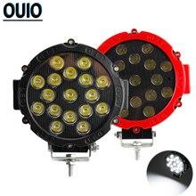 цена на 1pc/2pcs 7 Off-road Led Light Bar 51W Round Work Light 4x4 Auto Driving Lamp Spot Light for Boat Tractor Truck SUV ATV 12V 24V