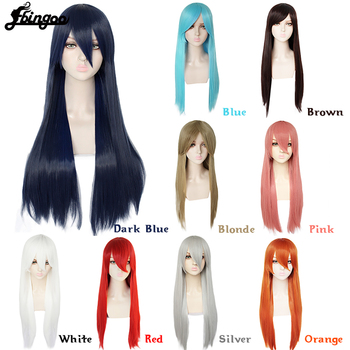 Ebingoo Multicolor Long Straight Heat Resistant Synthetic Hair Wig Women Universal Cartoon Cosplay Wig Anime Costume Party Wigs ebingoo rabbit ears silver grey long double braid judy bunny synthetic cosplay wig for party rabbit ear props