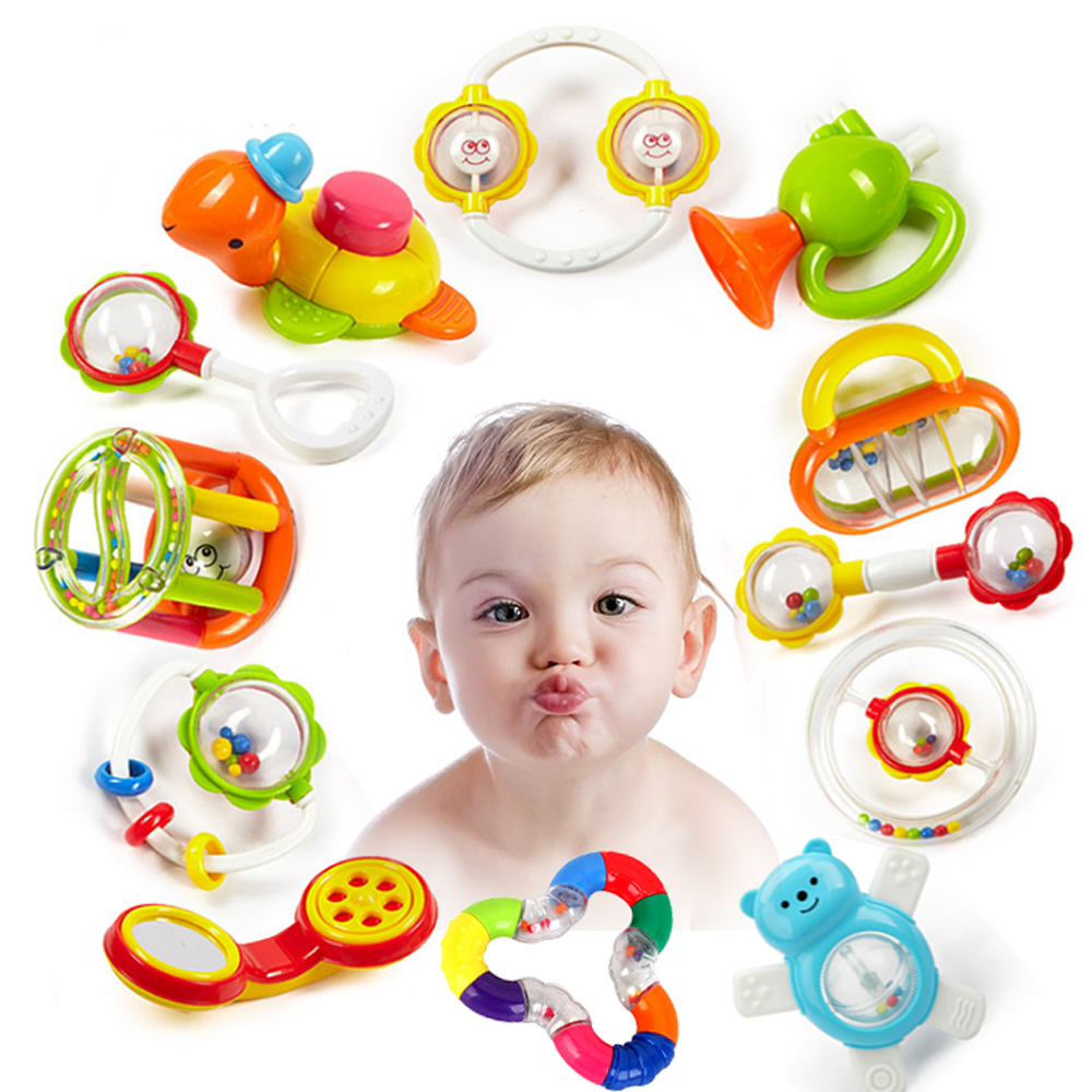 Baby Rattles Toys Newborn Hand Bells Baby Toys 0-12 Months Teething Safe Development Infant Early Educational Baby Rattles Toys