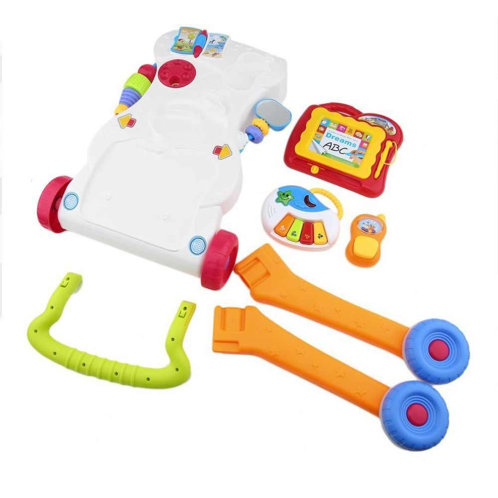 Baby Walker Multifungsi Balita Trolley To Sit Still Walker untuk Anak Pembelajaran Awal dengan Sekrup Yang Dapat Disesuaikan