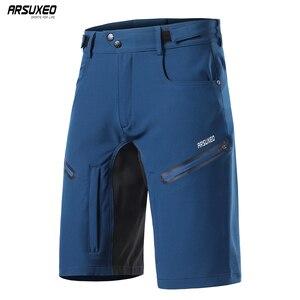 Image 1 - ARSUXEO pantalones cortos de ciclismo para hombre, pantalones cortos para bicicleta de montaña, corte holgado, para deportes al aire libre, senderismo, descenso, 2020