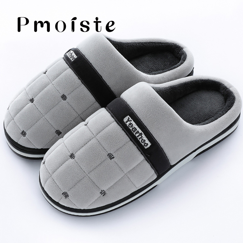 Winter Men's Slippers Plus Size 46-47 Superstar Gingham Suede Comfortable Home Slippers Men Solid TPR Soft Slippers Man