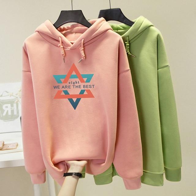 S-4xl 2019 New Thick Print Autumn And Winter Women  Pullover Sweatshirt Fashion Korean  Plus Size  Warm Hoodies Tops