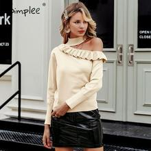 Simplee Sexy licou tricoté pull femmes pull hiver évider à volants dame chandail à manches longues femme pull pull femme