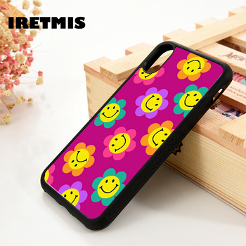 Iretmis 5 5S SE 6 6S Soft TPU Silicone Rubber phone case cover for iPhone 7 8 plus X Xs 11 Pro Max XR Smiley Flowers