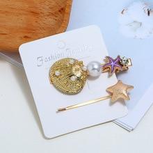 Korean Sweet Shell Pearl Bang Clip Starfish Hair Stick Women Jewelry Trendy Accessories Rhinestone Pins