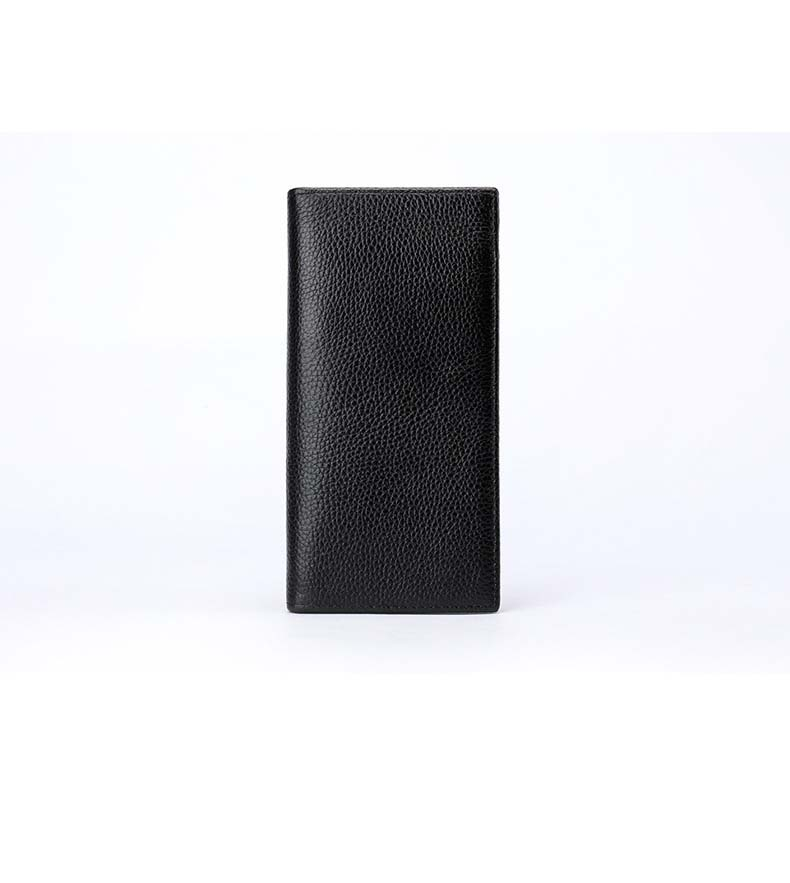 Male's Handbag Leather Soft Leather Long Wallet Multi-Function Zipper Lychee Leather  Wallet In Black Color